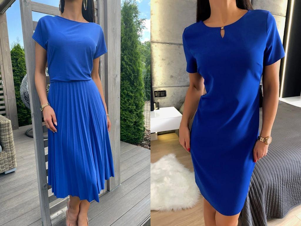 kobaltowe sukienki do pracy