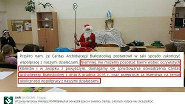 'Narodowy mikołaj' oraz fragment listu otwartego ONR do białostockiego Caritasu