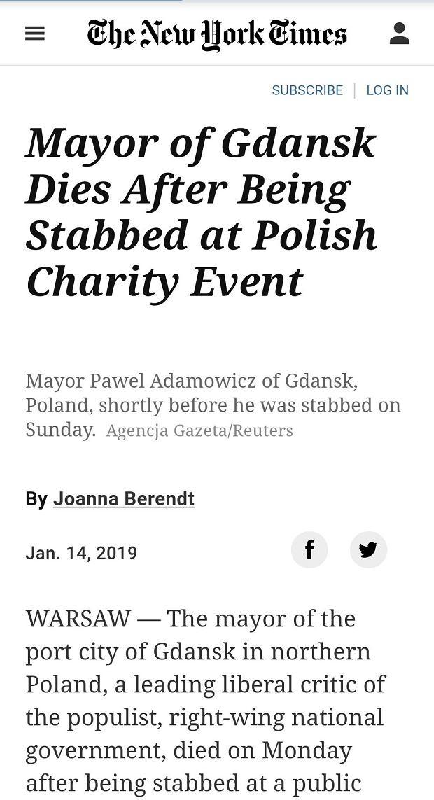 New York Times o śmierci Adamowicza
