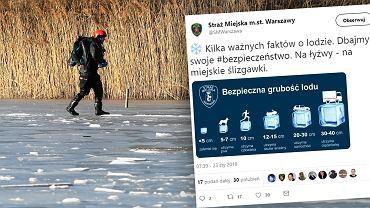 Na Twitterze straży miejskiej pojawił się wpis o grubości lodu