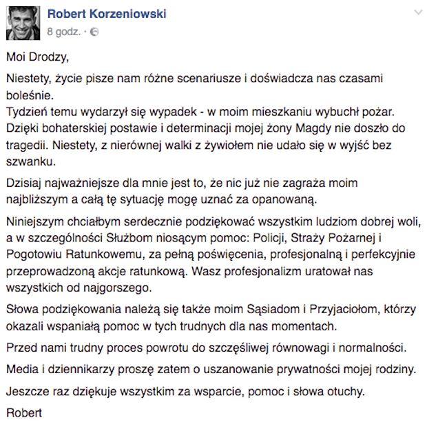 Wpis Roberta Korzeniowskiego