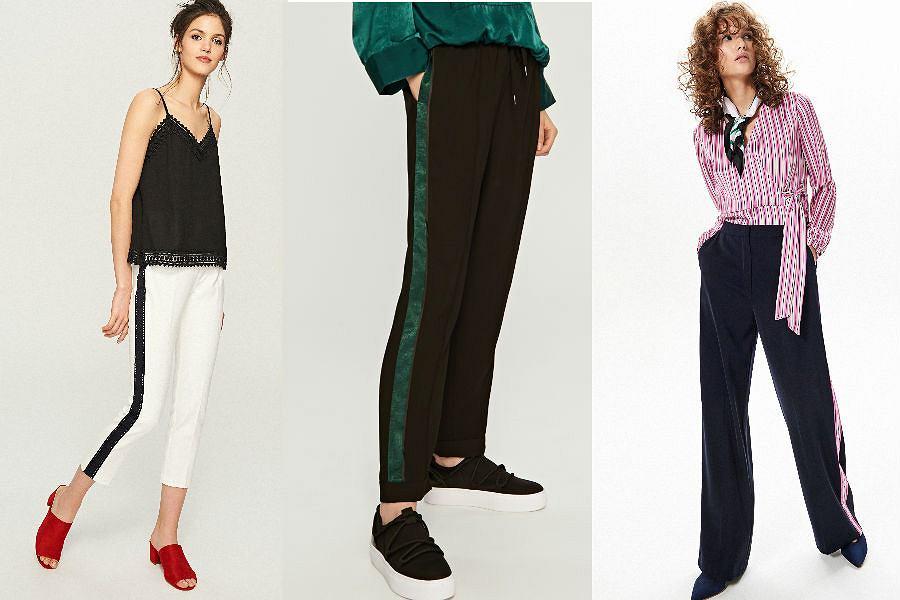 Spodnie z lampasami mają różne fasony