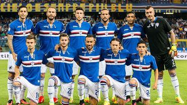 Sampdoria Genua przed meczem z Bassano Virtus w Pucharze Włoch. Pierwszy z lewej w dolnym rzędzie Karol Linetty