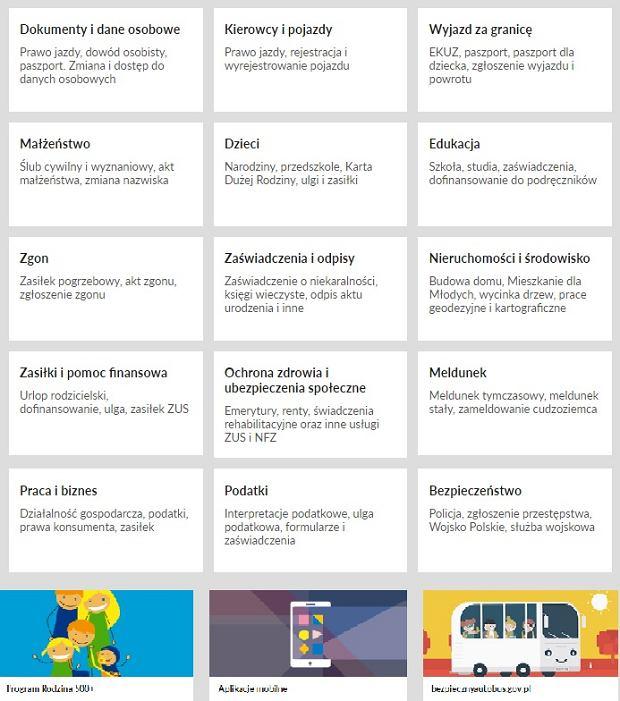 Usługi dostępne na stronie obywatel.gov.pl