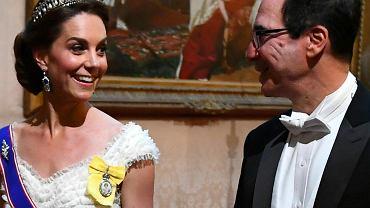 Księżna Kate wraz z sekretarzem skarbu USA, Stevenem Mnuchinem
