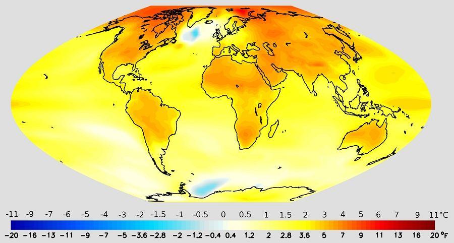 Globalne ocieplenie - projekcja wzrostu temperatury