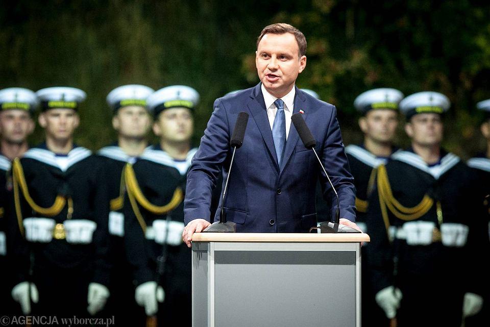 Prezydent Andrzej Duda na 76. rocznicy wybuchu II WŚ na Westerplatte, 2015 r.