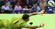 XVZCArsenals Szczesny saves from Leicester Citys Vardy during their English Premier League soccer match at the King Power Stadium in Leicester