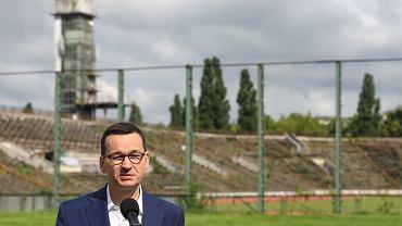 Premier Mateusz Morawiecki na stadionie Skra Warszawa