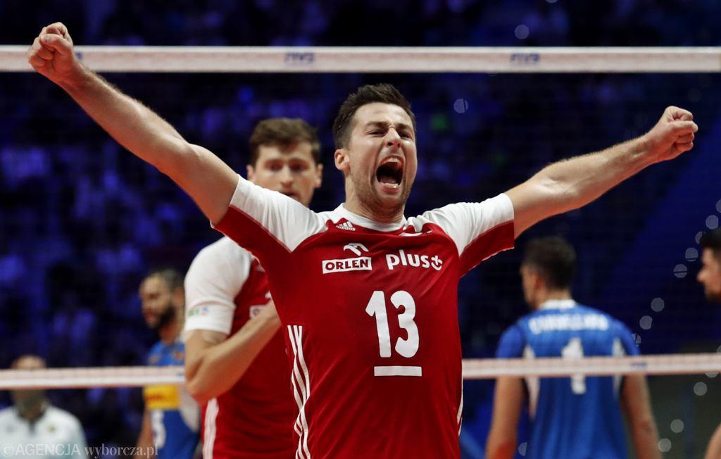 Mistrzostwa świata w siatkówce 2018. Polska - Włochy, Michał Kubiak po zatrzymaniu Ivana Zaytseva