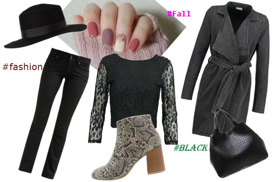 szary płaszcz, czarne spodnie, botki, duża torebka