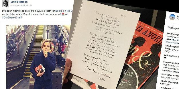 Emma Watson podrzuca książki w londyńskim metrze