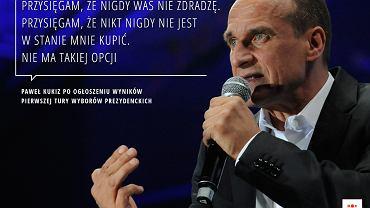 Paweł Kukiz po ogłoszeniu wyników I tury wyborów prezydenckich