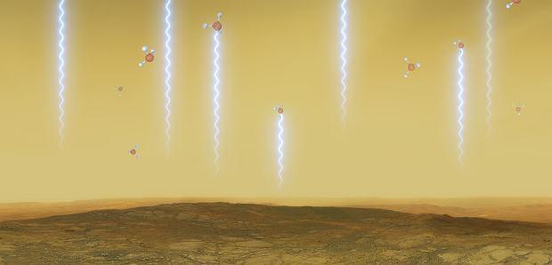 Artystyczna wizja przedstawiająca możliwą powierzchnię Wenus i jej atmosferę