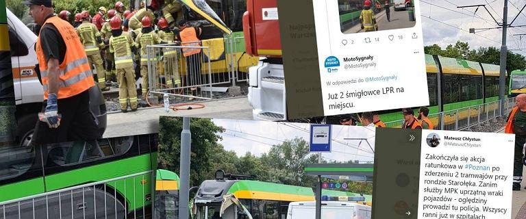 Poznań. Zderzenie dwóch tramwajów. 31 osób rannych. Duże utrudnienia w ruchu
