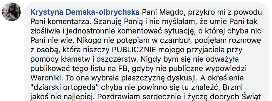 Krystyna Demska-Olbrychska odpowiada Magdalenie Środzie
