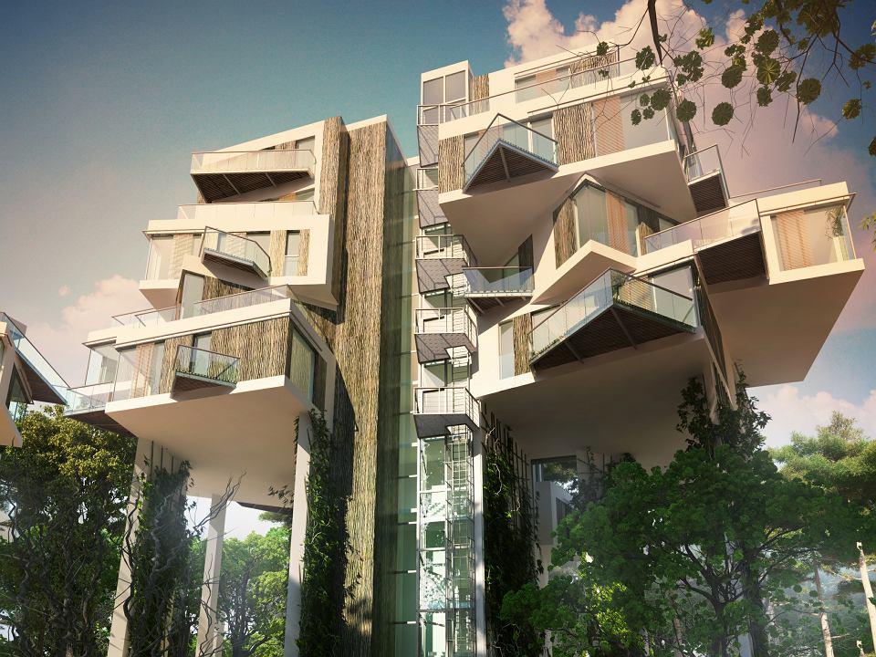 W przyszłości powstaną domy pod wodą albo osiedla domków w powietrzu, rozwieszonych na gigantycznym słupie. Na zdjęciu: Sea Forest Residence, Międzyzdroje