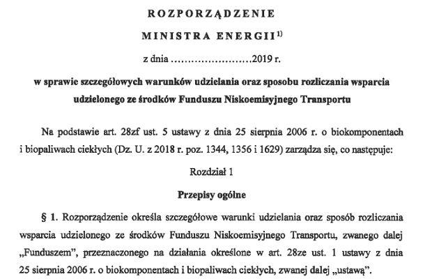 Projekt rozporządzenia Ministerstwa Energii