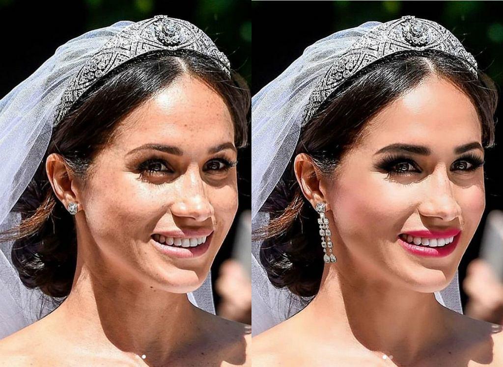 Meghan Markle w dwóch wersjach makijażowych