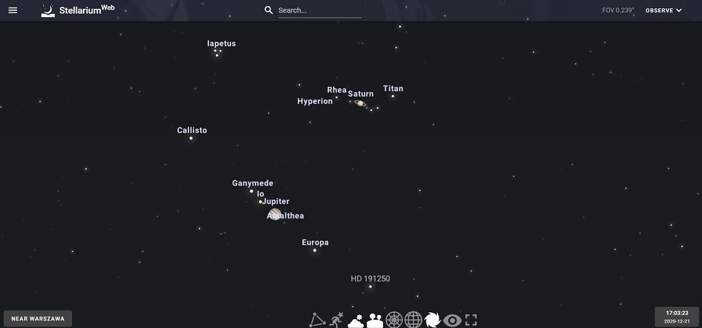 Wielka koniunkcja Saturna i Jowisza w Stellarium