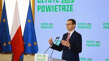 Premier Mateusz Morawiecki podczas uroczystości podpisania porozumienia w sprawie realizacji programu priorytetowego 'Czyste Powietrze', 7 czerwca 2018..