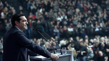 Lider partii SYRIZA Alexis Tsipras przemawia podczas kongresu ugrupowania w Atenach