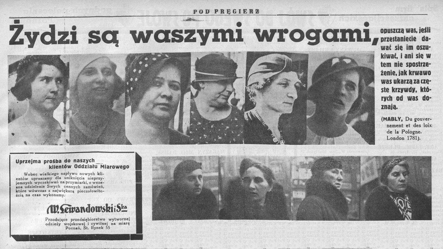 Strona dziennika ''Pod Pręgierz'' z 1937 r.
