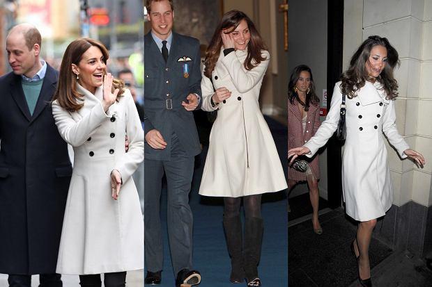 Księżna Kate w białym płaszczu