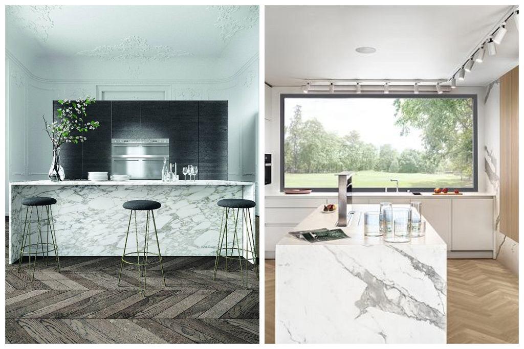 1. Marmur w kuchni 2. Spiek kwarcowy Laminam wzorem przypominający marmur Calacatta