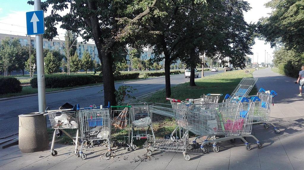 Porzucone wózki sklepowe przy ul. Kijowskiej na Pradze-Północ