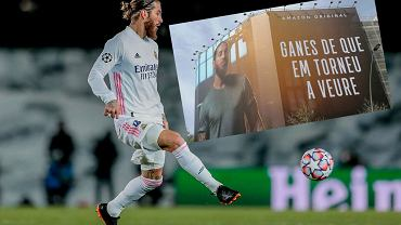 Sergio Ramos i jego baner w Barcelonie