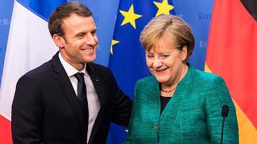 Emmanuel Macron i Angela Merkel podczas wspólnej konferencji na szczycie przywódców UE w Brukseli. 15 grudnia 2017