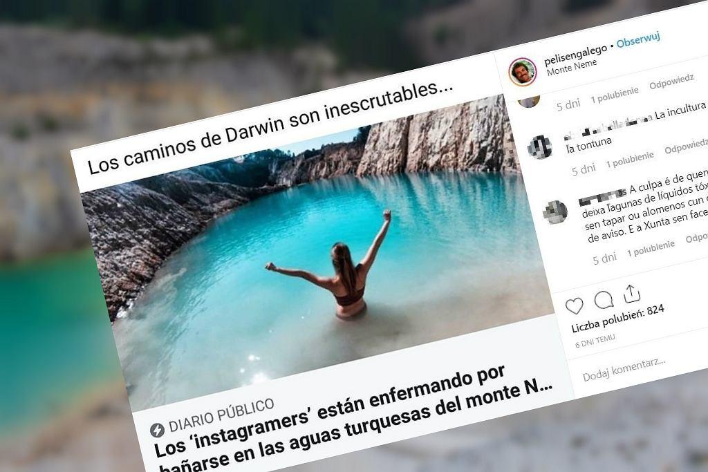 Instagramerzy wchodzą do toksycznego jeziora w Hiszpanii, żeby zrobić lepsze zdjęcie