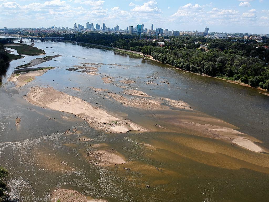 Niski stan wody w Wiśle w Warszawie