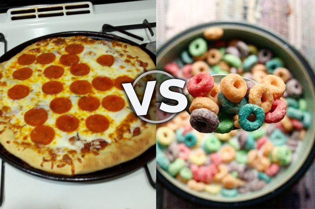 Pizza vs płatki śniadaniowe.