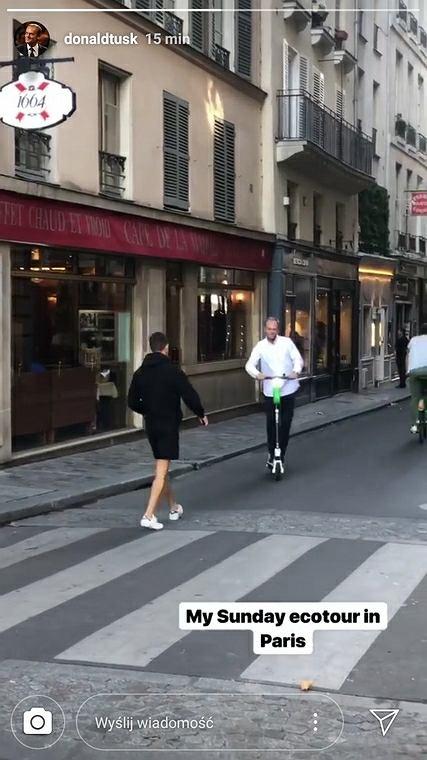 Donald Tusk na hulajnodze w Paryżu