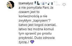 Iza Małysz, komentarz