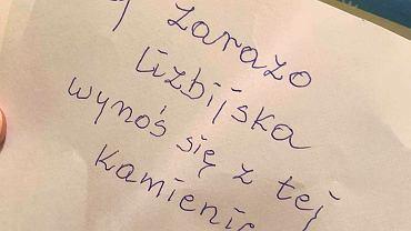 Kartka jaką na swojej wycieraczce znalazła Małgorzata Prokop Paczkowska