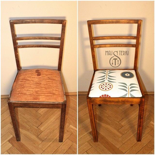 Krzesło przed odnowieniem i po.