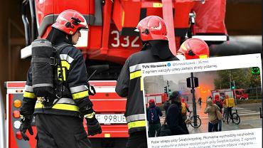 Pożar w centrum Warszawy