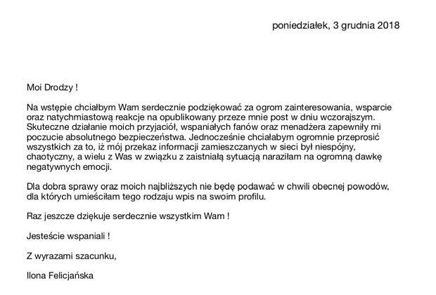 Oświadczenie Ilony Felicjańskiej