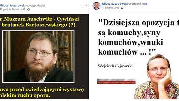 Posty radnego PiS Miłosza Szczurowskiego na FB