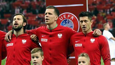 Euro 2020. Grzegorz Krychowiak, Wojciech Szczęsny i Robert Lewandowski przed meczem Polska - Słowenia