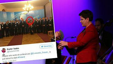 Eszter Szabo wśród niepełnego składu rady programowej krynickiego forum. W tle Beata Szydło odbiera nagrodę 'człowieka roku'