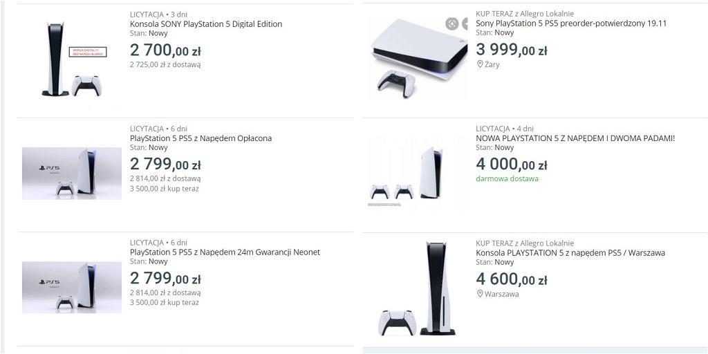 PlayStation 5 na platformach aukcyjnych z ogromną przebitką w cenie