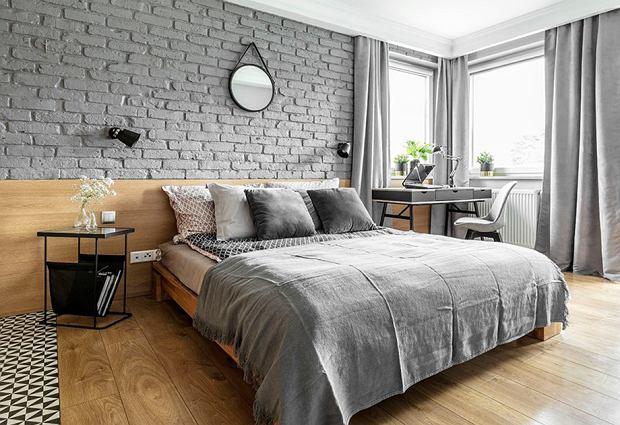 Szara sypialnia - inspiracje, meble i dodatki