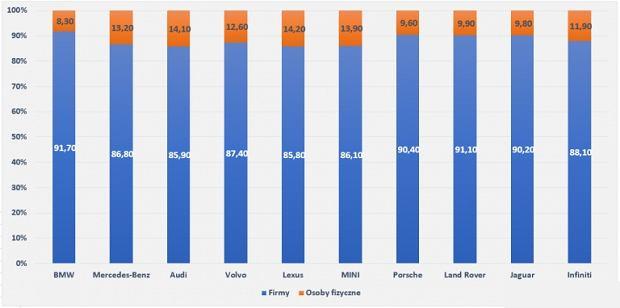 Udział firm w sprzedaży samochodów luksusowych w Polsce