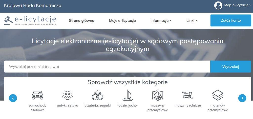 Strona z licytacjami komorniczymi