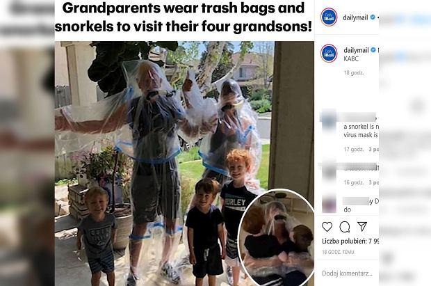 Dziadkowie uparli się, by pierwszy raz przytulić wnuka. Zrobili dziwny strój ochronny