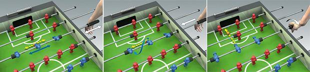 Nietypowy sport: piłkarzyki, sport, zagrywka 3: Snake shot